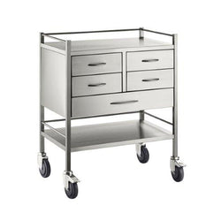Resus SS Trolley - 4 half drawers (125mm) 1 full drawer (125mm) - 800 x 500 x 900
