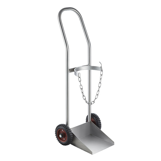 Oxygen Trolley - Stainless Steel Size D, Safety Chain for security, smooth rolling