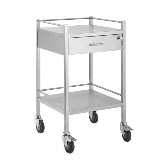 Single Stainless Steel Trolley 1 Draw With Lock - 500 x 500 x 900