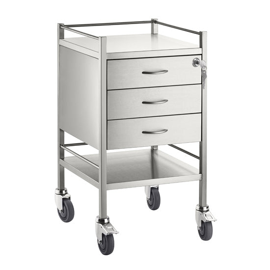 Single Stainless Steel Trolley 3 Draw With Top Locking Draw - 500 x 500 x 900