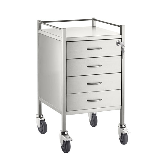 Single Stainless Steel Trolley 4 Draw With Top Locking Draw - 500 x 500 x 900
