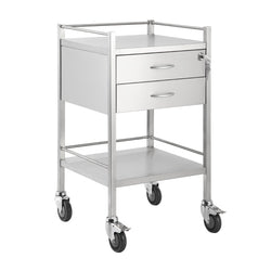 Single Stainless Steel Trolley 2 Draw With Top Locking Draw - 500 x 500 x 900