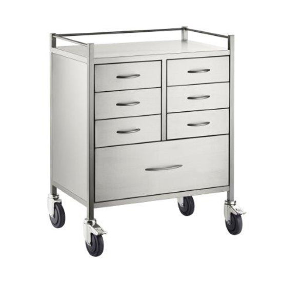 Resus SS Trolley - 6 half drawers (125mm) 1 full drawer (250mm) - 600 x 500 x 970