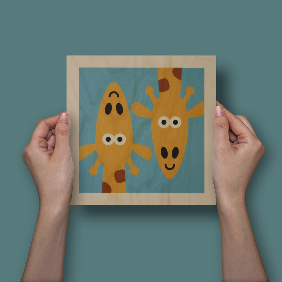 wood panel print - giraffe