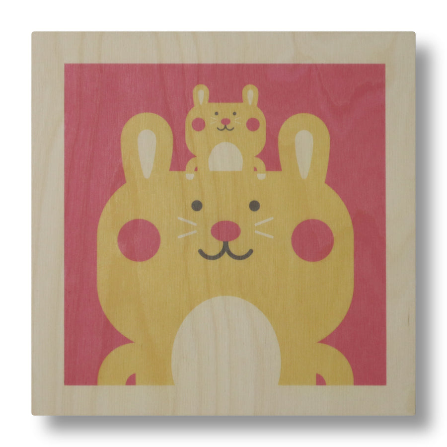 wood panel print - rabbit
