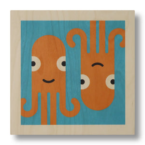 wood panel print - squid