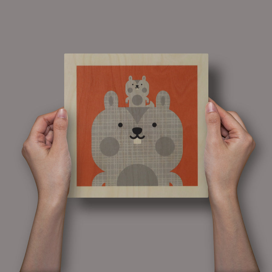 wood panel print - squirrel