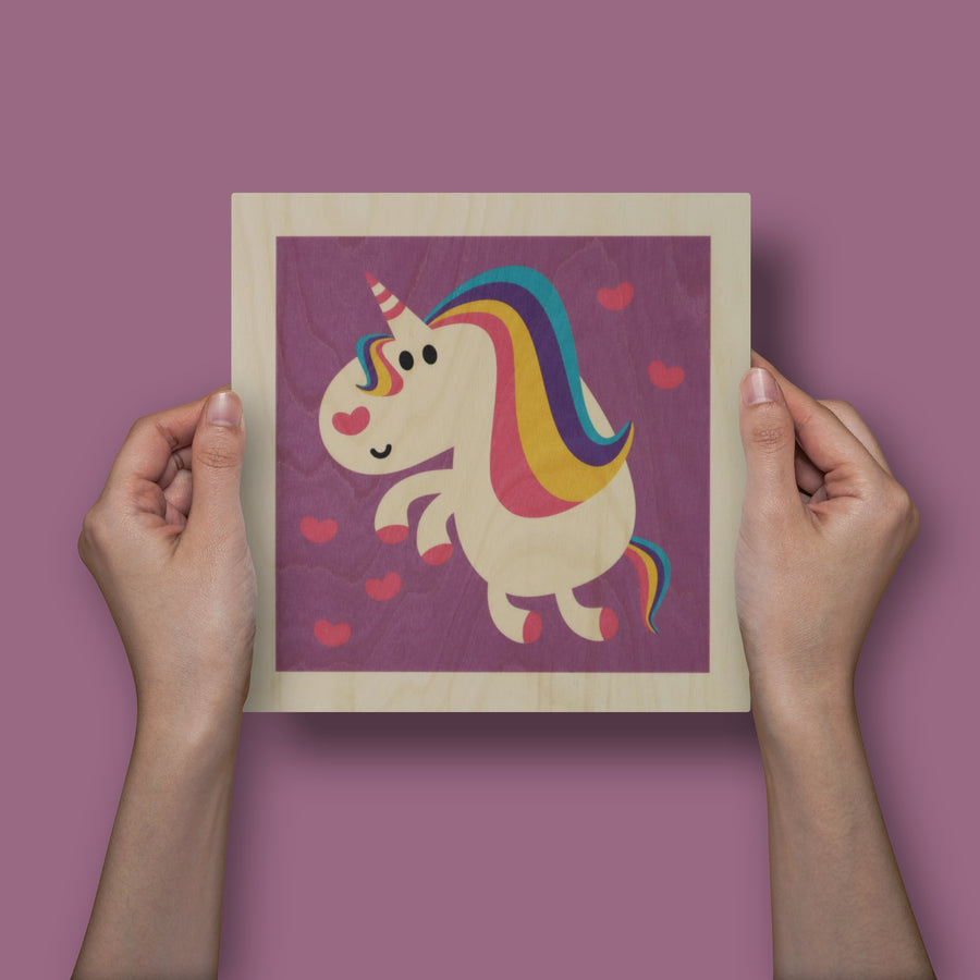 wood panel print - unicorn
