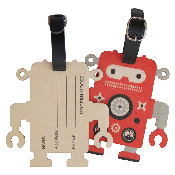 robot bag tag - modern moose - bag tag - 1