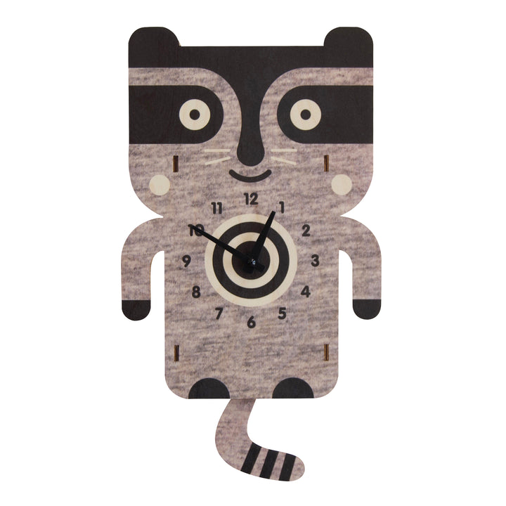 raccoon pendulum clock