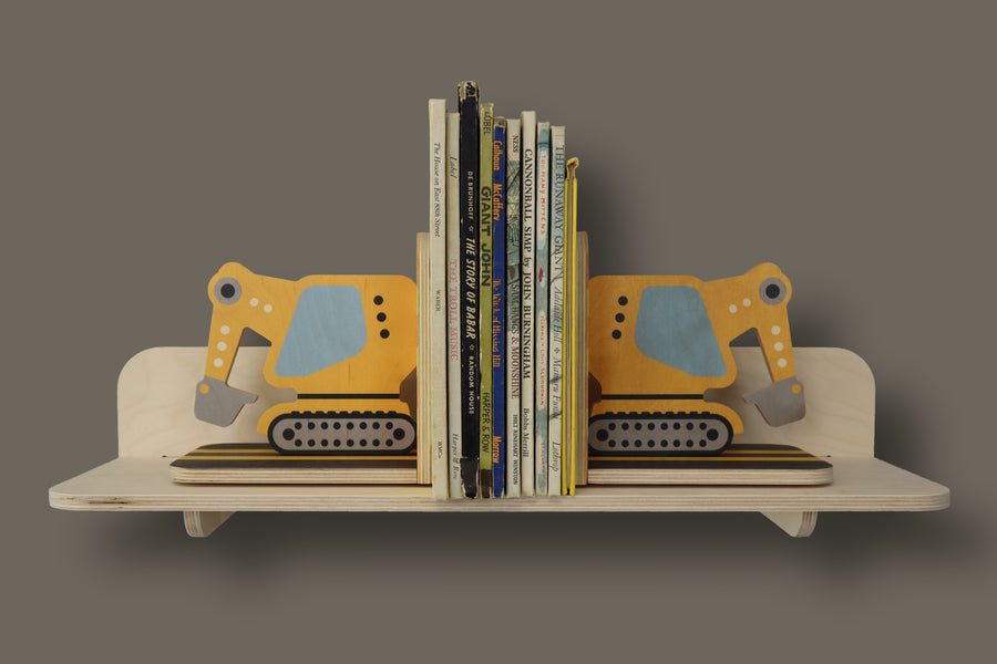 excavator bookends - set of 2