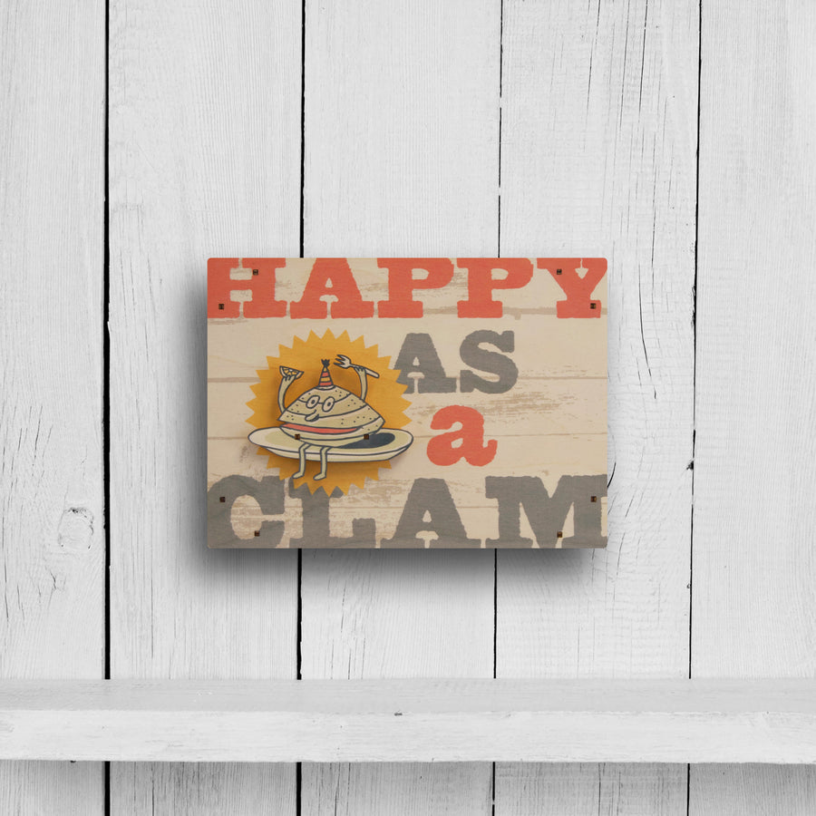 happy as a clam wall sign