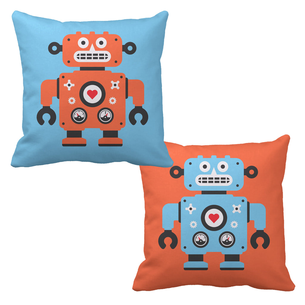 robot reversible throw pillow - modern moose - throw pillow - 1