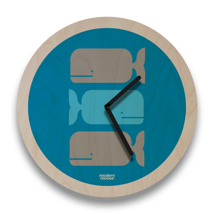 whales round wall clock