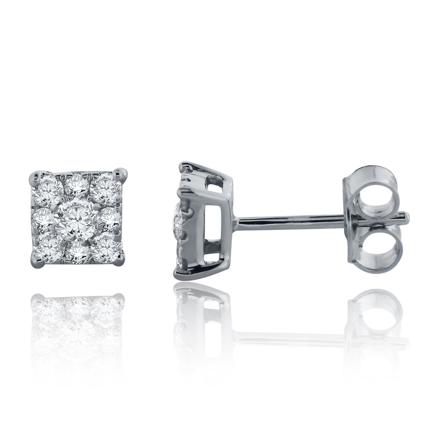 a8827898c Load image into Gallery viewer, 14k White Gold Diamond Stud Earrings with Friction  Back ...
