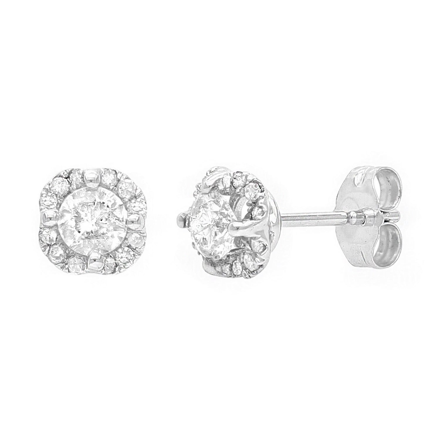 c3dd8e283 10k White Gold Diamond Stud Earrings in Floral Shape with Friction Back  (0.70 cttw, I-J Color, I1-I2 Clarity)