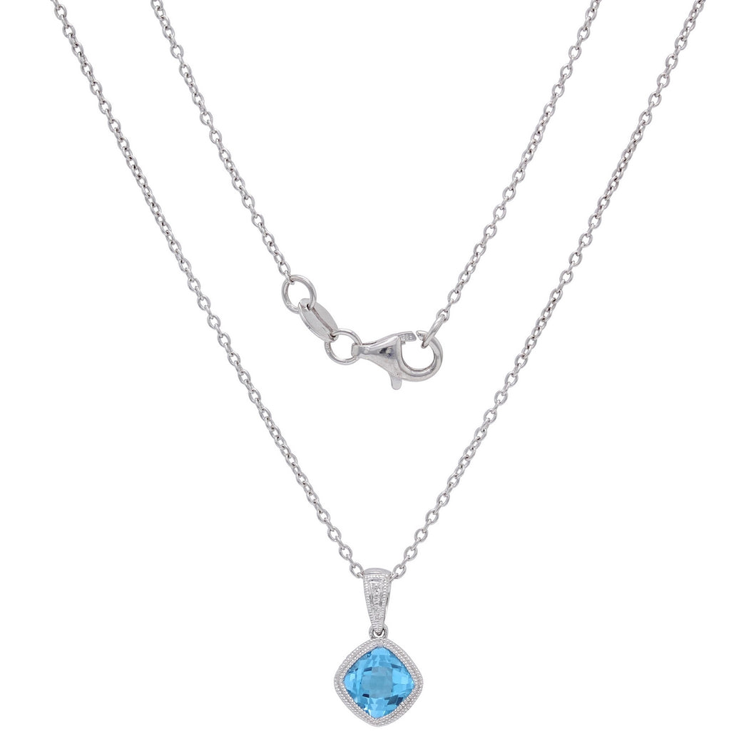 Sterling Silver & Checkerboard-Cushion-Cut Garnet, Amethyst or Blue Topaz Pendant Necklace, 18