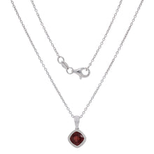 Load image into Gallery viewer, Sterling Silver & Checkerboard-Cushion-Cut Garnet, Amethyst or Blue Topaz Pendant Necklace, 18""