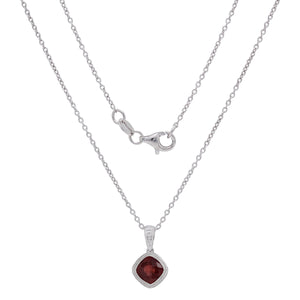 Sterling Silver & Checkerboard-Cushion-Cut Garnet, Amethyst or Blue Topaz Pendant Necklace, 18""