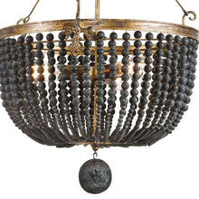 Load image into Gallery viewer, Black Wood Bead Chandelier