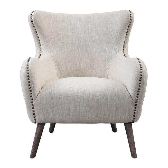Tufted Back Linen Accent Chair