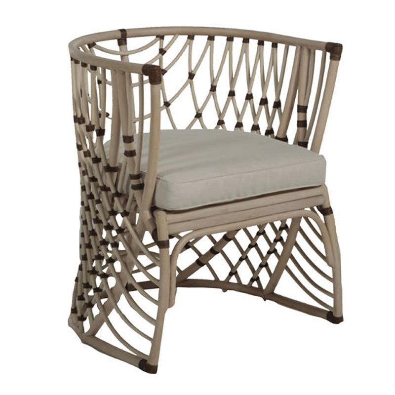 Barrel Back Dining Chair, Whitewashed Rattan