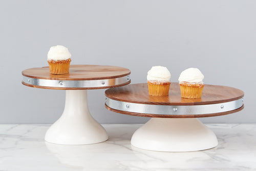Wood and White Cake Stand