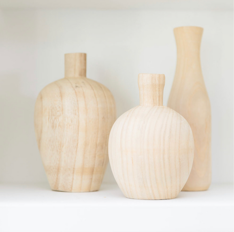 Bleached Wood Vases, set of 3