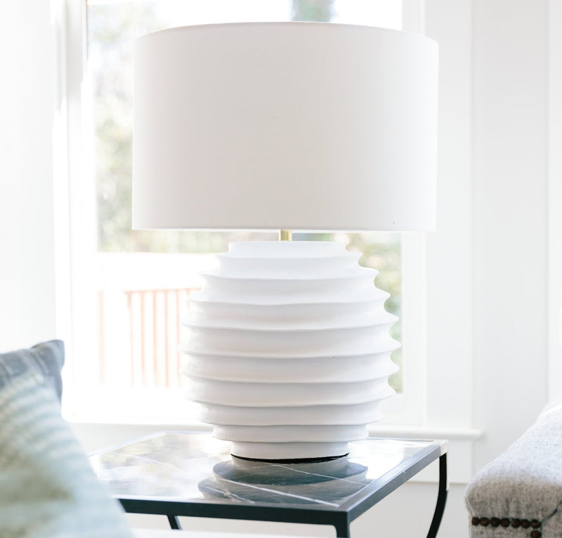 White Accordion Table Lamp