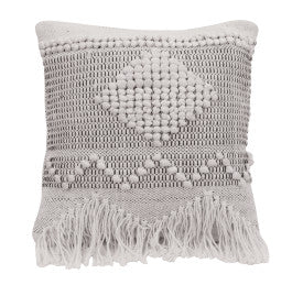 Ivory and Gray Textured Throw Pillow