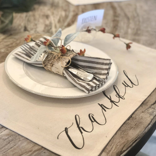 Calligraphy Placemat, Thankful