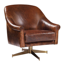Load image into Gallery viewer, Leather Swivel Chair with Brass Base