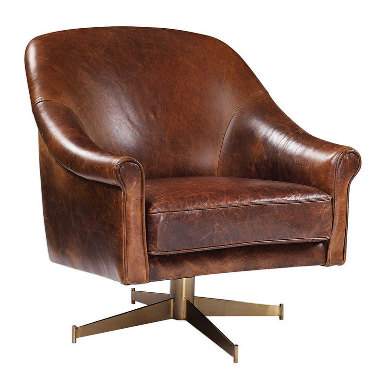 Leather Swivel Chair with Brass Base