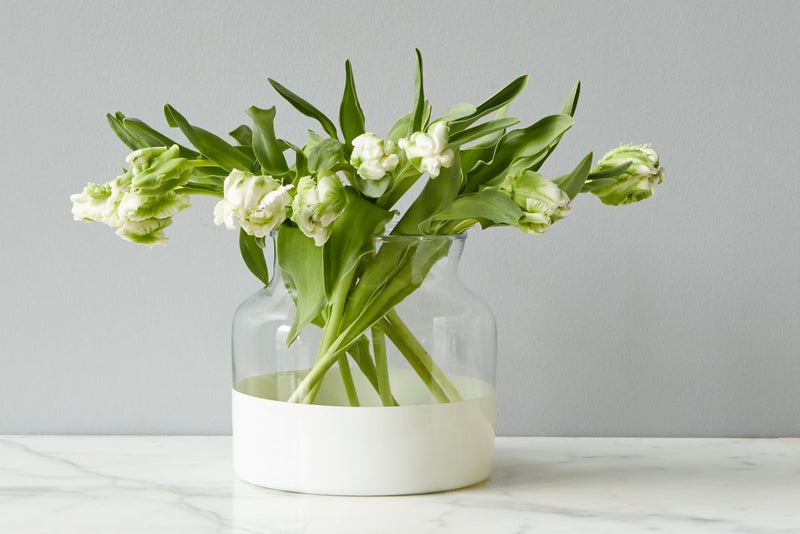 White Colorblock Vase