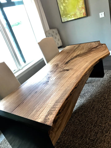 A Live Edge Red Oak Wood Dinner Table in the St Jude's Dream Home Giveaway Tulsa