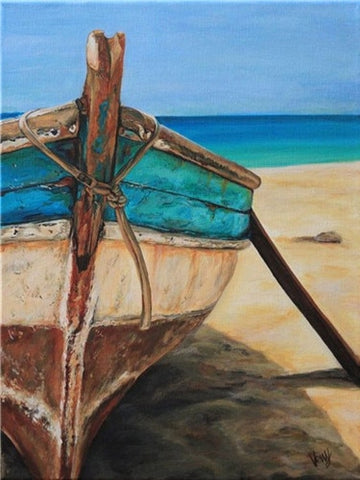 Beached Fishing Boat | DIY Scenic Diamond Painting Kit | DIY Rhinestone Cross Stitch | Ocean Beach View -Diamond Painting Kits, Diamond Paintings Store