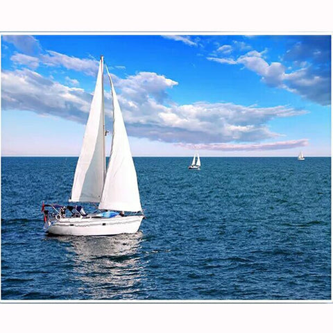 5D Full Square/Round Diamonds | Sailboat Diamond Painting Kit | Sailing Boat Cross Stitch Mosaic | Ocean Blue Sky Clouds Waves -Diamond Painting Kits, Diamond Paintings Store