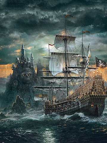 Pirate Ship Diamond Painting | DIY Boat Diamond Kit | Square 5D Diamonds | Skull And Crossbones Flag Galleon -Diamond Painting Kits, Diamond Paintings Store