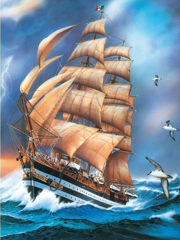 Full Square Drill 5D Diamonds | Large Ship Waves Cross Stitch | Sailboat Diamond Painting Kit | Rough Seas Storm -Diamond Painting Kits, Diamond Paintings Store