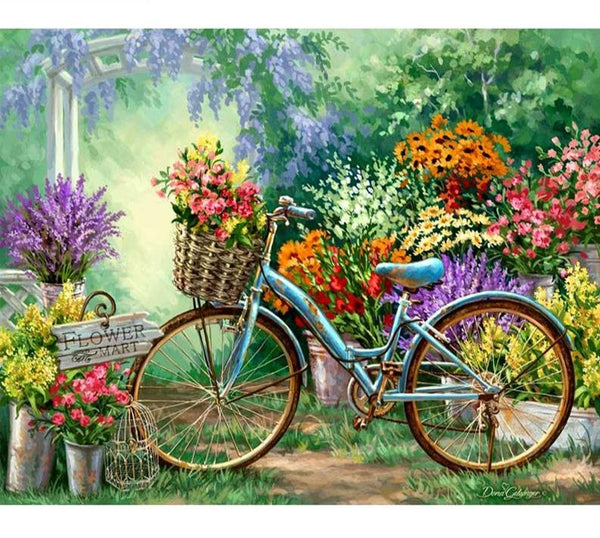 Country Flower Garden Bicycle 5D Diamond Painting Kit  |  Full Square Rhinestone, Intricate Needlepoint -Diamond Paintings, Diamond Paintings Store