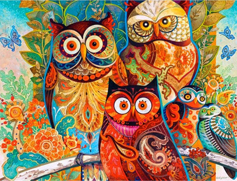 New Color Owls DIY Diamond Painting Kit |  Full Square Rhinestone Mosaic Embroidery Diamond Art -Diamond Paintings, Diamond Paintings Store