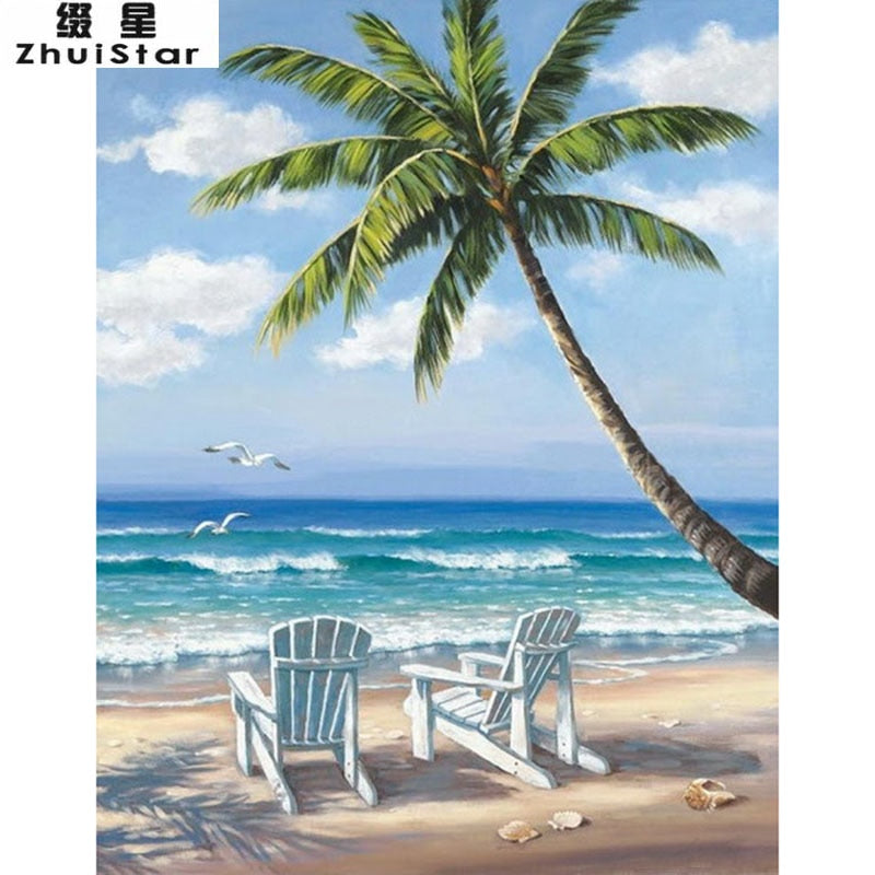 New 5D DIY Diamond Painting Beach & coconut trees -Diamond Paintings, Diamond Paintings Store