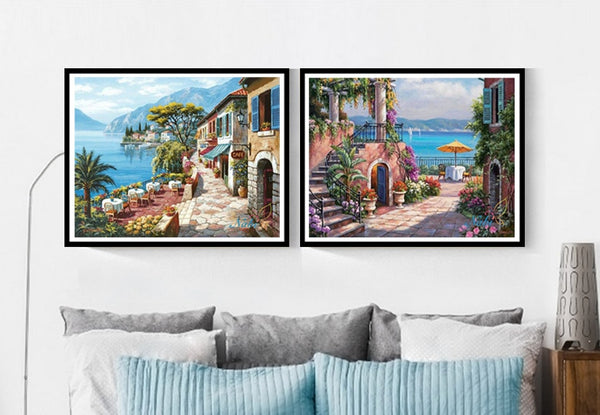Intricate, Beautiful Seaside Town Diamond Painting Kits Available -24 Scenes to Choose From -Diamond Painting Kits, Diamond Paintings Store