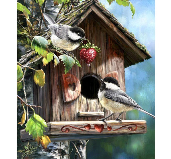 """Two Birds In Birdhouse"" Diamond Painting Kit 