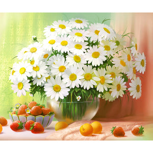 White Daisies, 5D Diamond Painting Kit -Diamond Paintings, Diamond Paintings Store