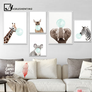 "NEW ""Blue Bubble Gum"" Baby Zebra, Giraffe, Canvas Art -Diamond Paintings, Diamond Paintings Store"
