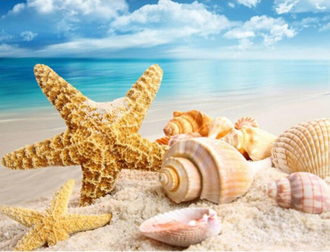 Sea Shells & Starfish on the Beach,  DIY Diamond Painting Cross Stitch - On Sale -Diamond Painting Kits, Diamond Paintings Store