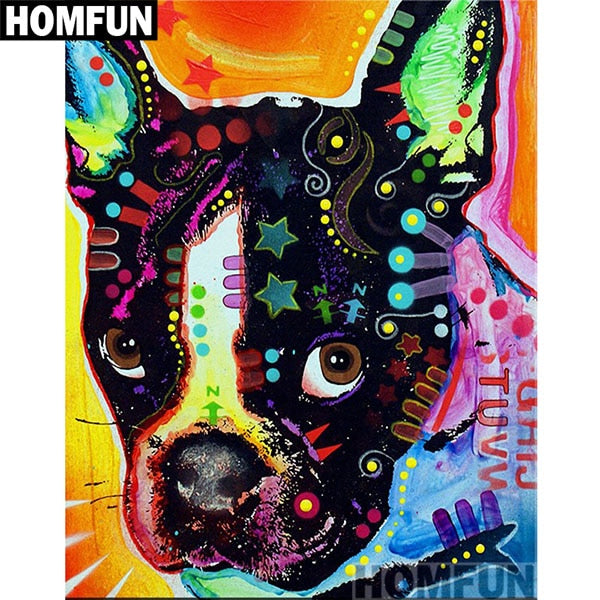 """Colorful dogs"" Diamond Painting Kit, Round -or- Square 3D Embroidery Mosaic -Diamond Paintings, Diamond Paintings Store"
