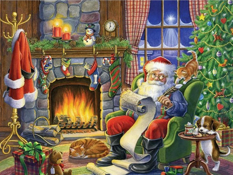 Santa's Fireplace, 5D Diamond Painting Kit -Diamond Painting Kits, Diamond Paintings Store