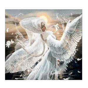 "5d ""White Angel"" Crystal Diamond Painting, Full Square - Gorgeous! -Diamond Painting Kits, Diamond Paintings Store"